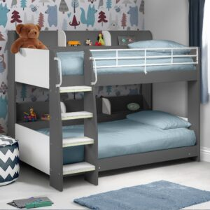 Domino Grey Wooden and Metal Kids Storage Bunk Bed Frame - 3ft Single