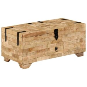 Eamon Solid Mango Wood Coffee Table with Storage Union Rustic