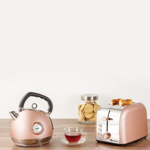 Epoque 1.8L Stainless Steel Electric Kettle and 2 Slice Toaster Set SQ Professional Colour: Pink
