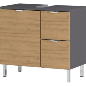 Flensburg 600mm Bathroom Furniture Suite with LED Mirror Brayden Studio Furniture Finish (Front / Body): Dark Wood / Grey