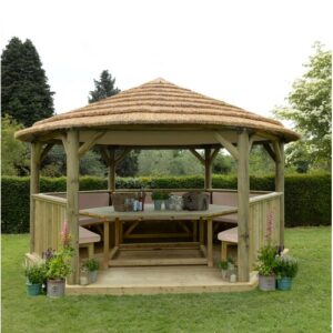 Furnished 4.9m x 4.3m Wooden Gazebo with Hardtop Roof Sol 72 Outdoor Colour (Roof): Cream