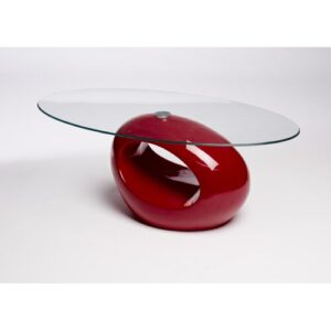 Helena Coffee Table Zipcode Design Colour (Table Top): Clear, Colour (Table Base): Red