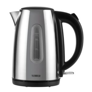 Infinity Stainless Steel Electric Kettle Tower Colour: Polished, Size: 24.5cm H x 23cm W x 14.5cm D