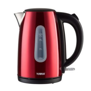 Infinity Stainless Steel Electric Kettle Tower Colour: Red, Size: 22cm H x 21cm W x 20cm D