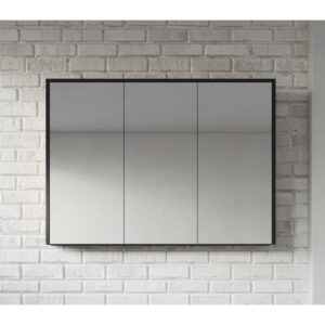 Kesington 100cm x 72cm Surface mount Mirror Cabinet Ebern Designs Finish: Black Wood