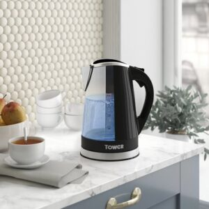 LED Colour Changing 1.7L Stainless Steel Electric Kettle Tower