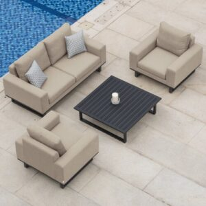 Lyndhurst Garden Sofa with Cushions Sol 72 Outdoor Colour: Taupe