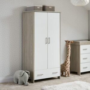 Nika 2 Door Wardrobe Obaby Finish: Grey Wash/White