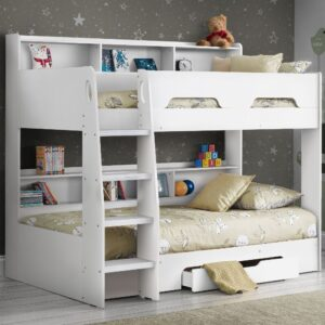 Orion White Wooden Storage Bunk Bed Frame Only - 3ft Single