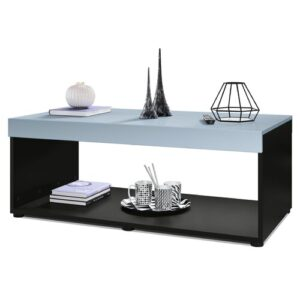 Pure Coffee Table with Storage Vladon Colour (Table Base): Matte Black, Colour (Table Top): Denim Matte