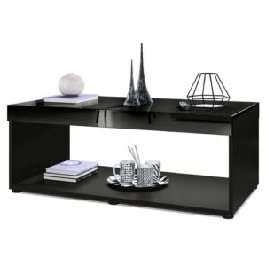 Pure Coffee Table with Storage Vladon Colour (Table Base): Matte Black, Colour (Table Top): High-Gloss Black