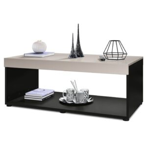 Pure Coffee Table with Storage Vladon Colour (Table Base): Matte Black, Colour (Table Top): Matte Mocha