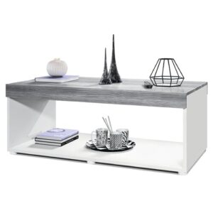 Pure Coffee Table with Storage Vladon Colour (Table Base): Matte White, Colour (Table Top): Avola Anthracite