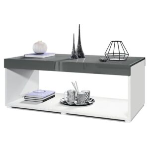 Pure Coffee Table with Storage Vladon Colour (Table Base): Matte White, Colour (Table Top): High-Gloss Grey