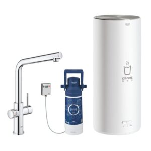 Red Duo Kettle Touch Hot Water Dispenser Grohe Size: Large, Finish: Chrome