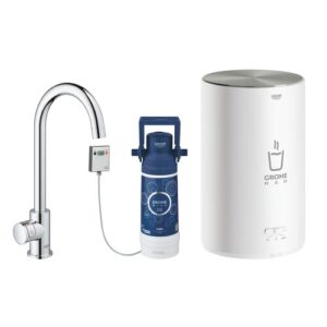 Red Mono Kettle Touch Hot Water Dispenser Grohe
