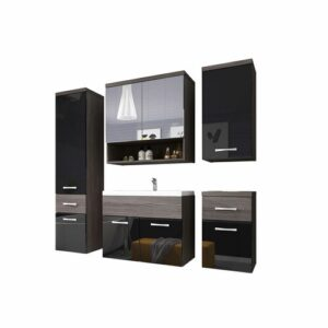 Rylee 5 Piece Bathroom Furniture Set Belfry Bathroom Colour/Finish: Black/Brown