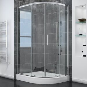 Sanchaya Offset Quadrant Shower Enclosure with Tray Belfry Bathroom Size: 1900mm H x 900mm W x 800mm D, Door Configuration: Right