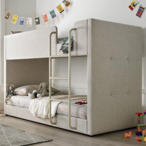 Saturn Oatmeal Fabric Bunk Bed - 3ft Single