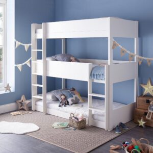 Snowdon White Wooden Triple Sleeper Bunk Bed Frame Only - 3ft Single