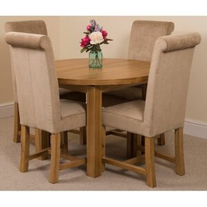 Soejima Solid Oak Dining Set with 4 Washington Chairs Rosalind Wheeler Colour (Chair): Beige