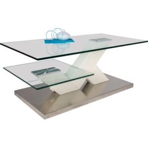 Somerset Coffee Table with Storage Brayden Studio Colour: Stainless steal / white matte lacquered