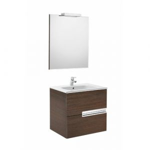 Victoria-N 4-piece 6mm Bathroom Furniture Suite with Mirror and Light Roca Furniture Finish: Textured Wenge
