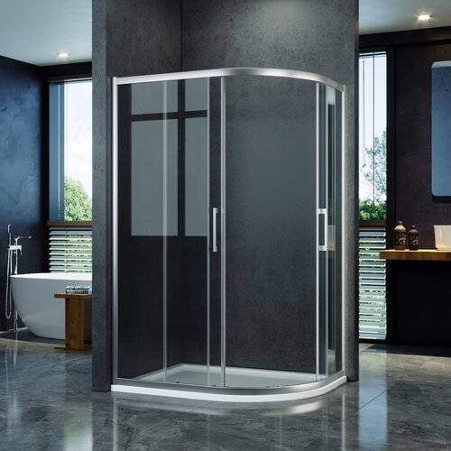 Whitted Quadrant Shower Enclosure with Tray Belfry Bathroom Size: 1900mm H x 800mm W x 880mm D