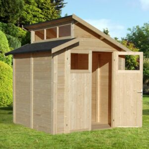 7 ft. W x 7 ft. D Solid Wood Garden Shed WFX Utility Colour: Brown