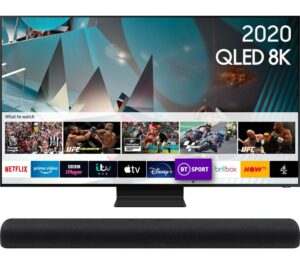 "75"" SAMSUNG QE75Q800TATXXU Smart 8K HDR QLED TV & HW-S60T/XU 4.0 All-in-One Sound Bar Bundle"