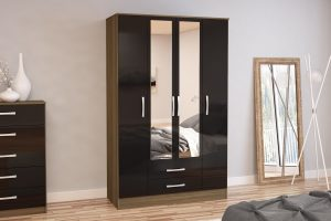 Adalee Walnut & Black 4 Door 2 Drawer Wardrobe with Mirror