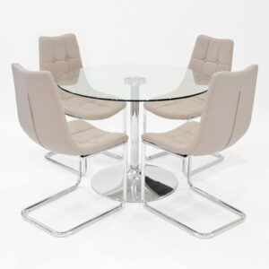 Alaric Dining Set with 4 Chairs Metro Lane Colour (Chair): Beige