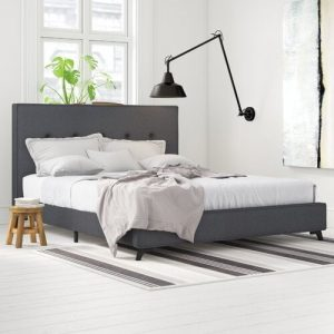 Ambassador Upholstered Bed Frame Mercury Row Colour: Grey, Lying surface: 140 x 200cm