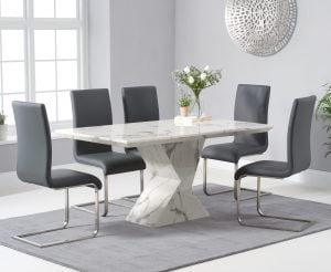 Andre 160cm White Marble Dining Table with Malaga Chairs