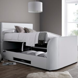 Annecy White Leather Ottoman Media TV Bed Frame - 4ft6 Double