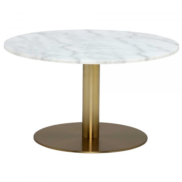 Apollo Coffee Table, White Marble and Brushed Brass