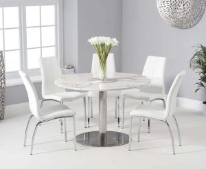 Baha 120cm Round White Marble Dining Table with Cavello Chairs