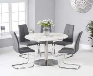 Baha 120cm Round White Marble Dining Table with Tarin Chairs