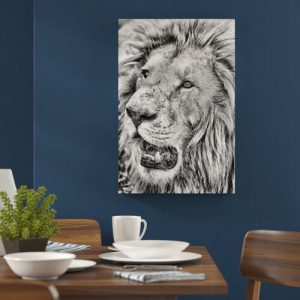 Beautiful White Lion in Monochrome Wall Art on Canvas East Urban Home