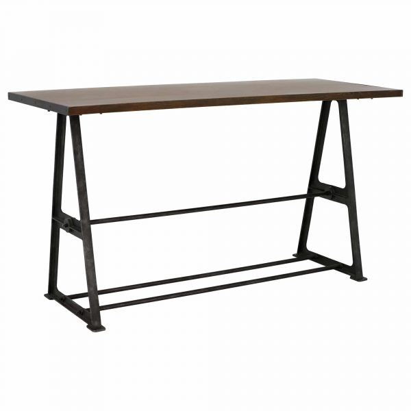 Bowery Bar Table, Coffee Brown and Rustic Black