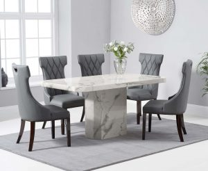 Brandi 160cm White Marble Dining Table with Freya Chairs