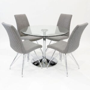 Brookdale Circular Dining Set with 4 Chairs Metro Lane Colour (Chair): Grey
