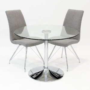 Brumiss Circular Dining Set with 2 Chairs Metro Lane Colour (Chair): Grey