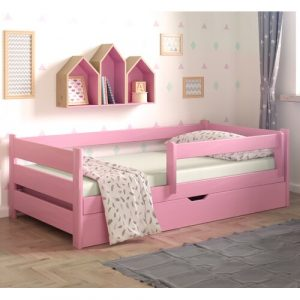 Cabin Bed with Drawer Nordville Bed Size: European Toddler (80 x 160 cm), Colour (Bed Frame): Pink