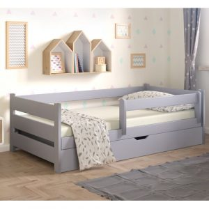 Cabin Bed with Drawer Nordville Bed Size: European Toddler (80 x 180 cm), Colour (Bed Frame): Grey/Brown/Blue