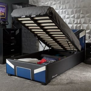Cerberus Ottoman Gaming Bed X Rocker Colour (Bed Frame): Blue, Size: Double