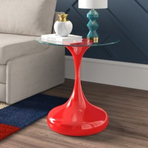 Clessidre Side Table House Additions Base Finish: Red