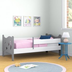 Cowgill Convertible Toddler Bed Symple Stuff Colour (Bed Frame): Grey, Mattress Type: Deluxe Pocket Sprung Mattress
