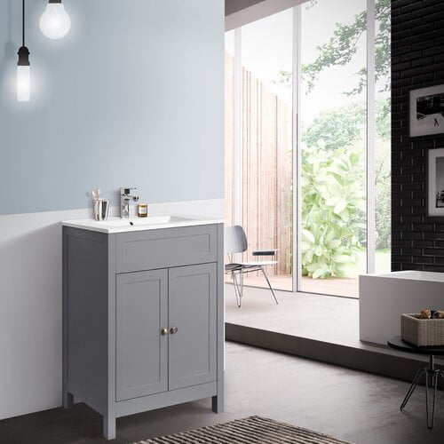 Cruce 610mm Free-standing Single Vanity Belfry Bathroom Vanity Unit Colour: Grey