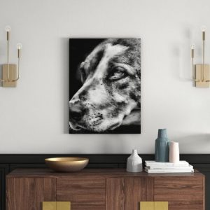 Cute Dog in Side Profile in Monochrome Wall Art on Canvas East Urban Home Size: 60cm H x 40cm W